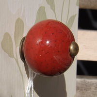 Ceramic sphere Red Drawer Knob 3cm