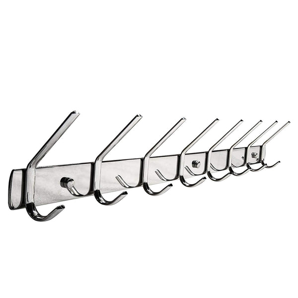 Coat Hat Hooks, WEBI Large SUS304 Modern Heavy Duty 6-Hook Robe Bath Kitchen Towel Utensil Utility Garment Rack Hanger Rail Holder, Bedroom Entryway Garage Bathroom Home Organization Storage, Polished