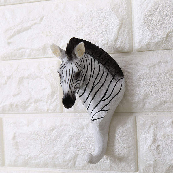Faux Animal Deer Zebra Head Wall Mount Hanger Animal Shaped Coat Hat Hook Heavy Duty, Hanging Wall Sculpture Home Decor Decorative Gift