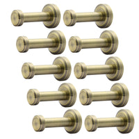 WEBI 10 Set Brass Round Clou Robe Coat Bath Kitchen Towel Hook, Single Wall Door Mount Hat Garment Rack Holder Closet Clothing Hanger Rail Entryway Garage Home Office Organizer Storage, Antique Bronze