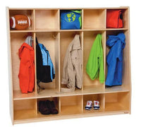 "Tip-Me-Not™, 5 Section Locker with Seat, 54"" W x 16"" D x 48"" H"