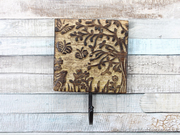 Tangled wood dark wood coat hook