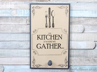 Kitchen is where we gather grey/cream apron coat hook