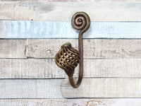 Single Spiral Ball Bronze Coat Hook