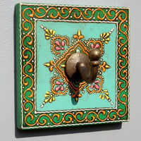Colourful Hand painted square plaque Coat Hook, Green Centre