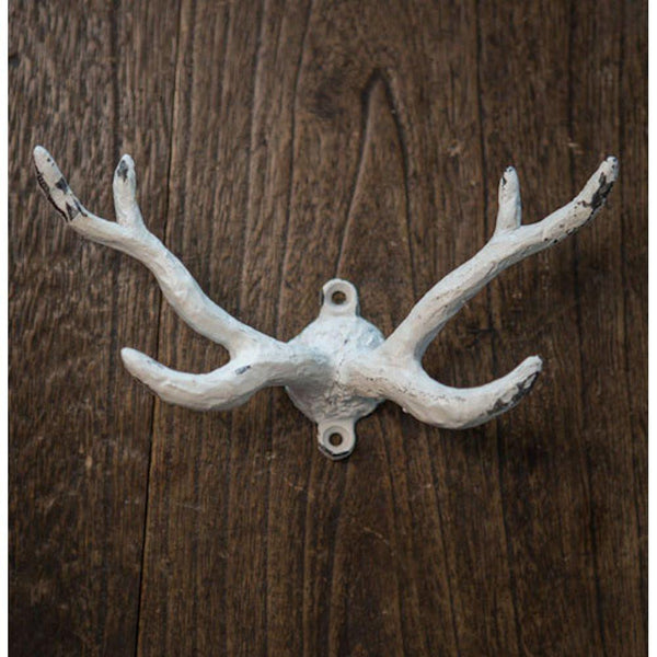 Oversized Antler Antique Wall Coat and Hat Hook 6-1/2-in (Distressed White)
