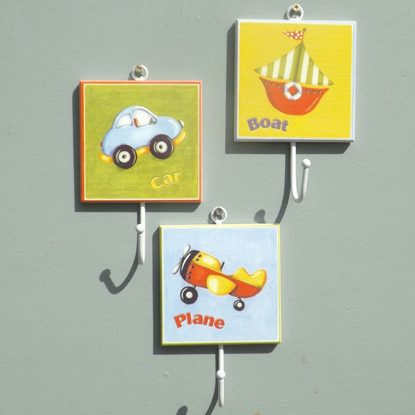 Childrens Plane, Car and Boat Coat Hooks
