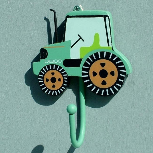 Bright Green Tractor Childrens Coat Hook