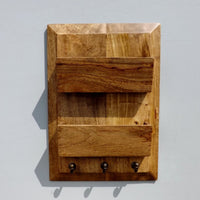 Oak Hall letter Rack with three Coat Hooks
