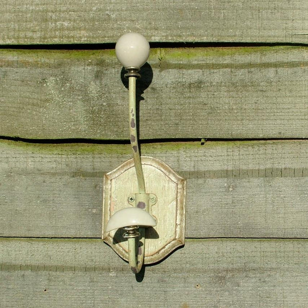 Vintage Distressed Double Ceramic Hook