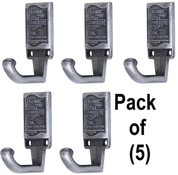 (5) HDL-10102 Harley Davidson Pewter Finish Oil Can Design Cast Coat Hooks
