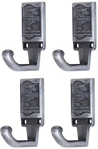 (4) ea HDL-10102 Harley Davidson Pewter Finish Oil Can Design Cast Coat Hooks