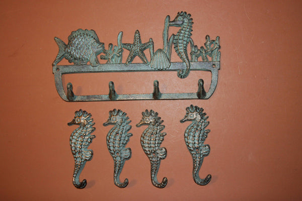 5), Bronze-look Seahorse Sea Life Coat Hooks, Free Shipping, Set of 5, Cast Iron, Ocean Beach Wall Decor, Beach House, H-34,N-25