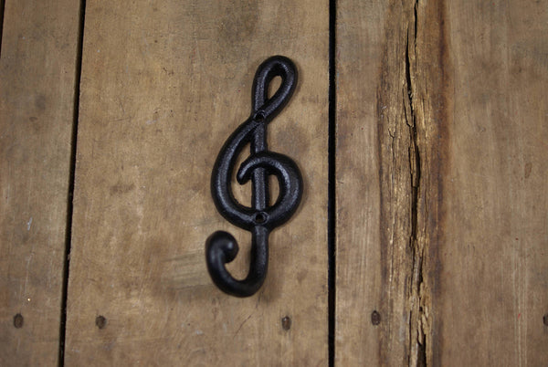Black Cast Iron Treble Clef Coat Hook
