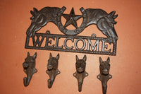 5) Ranch House Entrance Way Wall Decor, Horse | Lone Star Welcome Plaque | Horse Design Coat Hooks, Free Shipping