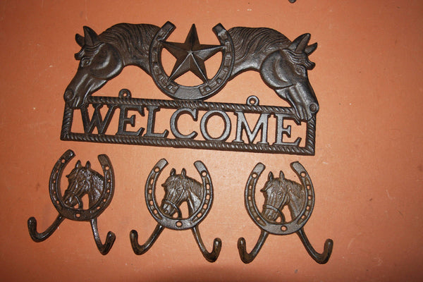 4) Ranch House Entrance Way Wall Decor, Horse | Lone Star Welcome Plaque | Horse Design Coat Hooks, Pecos, Free Shipping