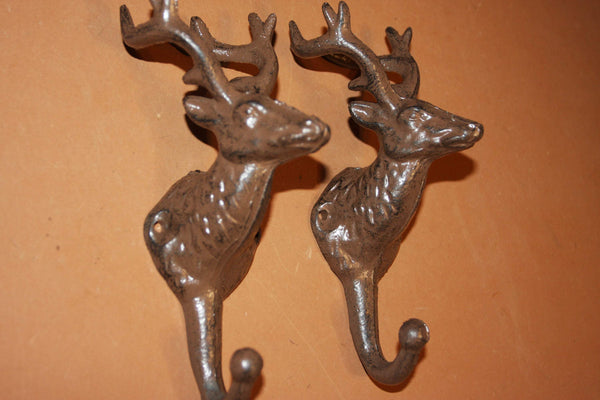2) Deer Hunter Coat Hooks, Rustic Cast Iron 8 inches tall, W-41