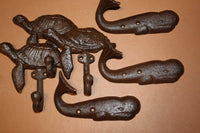 6) Rustic Nautical Beach house Coat Hooks ~ Cast Iron Sea Turtle & Whale Design,  H-102 103
