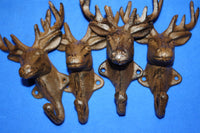 "Deer Head Antler Coat Hooks Rustic Cast Iron 6"" high, Deer Lease Mancave Mudroom Wall Hooks, Volume Priced, H-20"