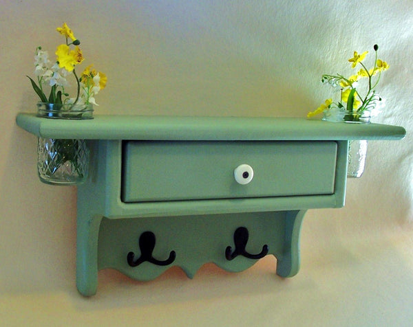Shelf with Drawer - Jar Vases - Coat Hooks - Coat Rack - Painted Wood