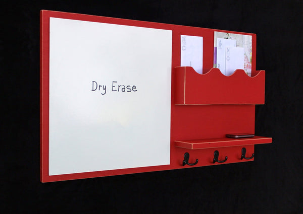 Message Center - Mail Organizer - Dry Erase - Key Hooks - Coat Hooks