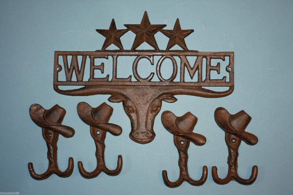 1 set, Longhorn Welcome Sign, 4 cowboy hat, wall Hooks, hallway hooks, coat hooks, tool shed wall hooks,Country Western, longhorn decor