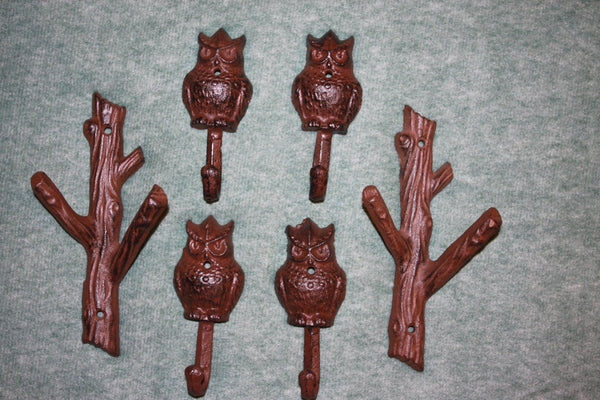 6 pieces) Forest Owl home decor, coat hook, hat hook, free shipping, cast iron forest owl wall hook, rustic brown,H-42, W-xx