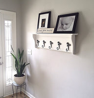 Traditional Coat Rack Shelf with Decorative Coat Hooks