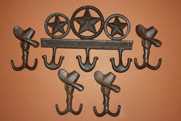 5)pcs, Cast iron lone star farm and ranch decor, lone star wall hooks, lone star coat hook, 11 inch cast iron, Free shipping, W-56,6