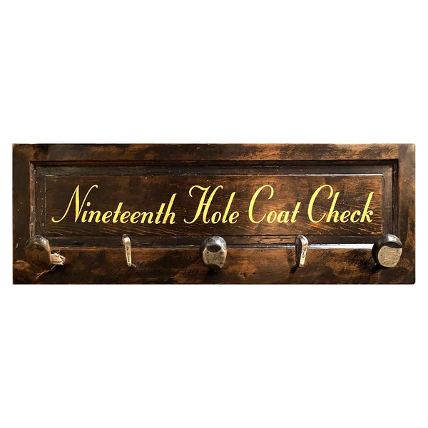 Nineteenth Hole Coat Check | Vintage Door Coat Rack with Authentic Vintage Club Hooks