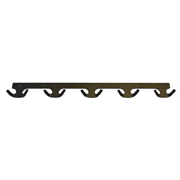 "OFG - Black 27"" Long Metal Industrial Coat Rack with 5 double hooks"