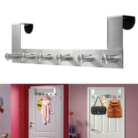 HOMEMAXS Multi Functional Stainless Steel Wall Mounted Hook Rack Hook Rail Coat Rack with 6 Hooks Home Storage Organization for Kitchen Bedroom Bathroom