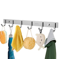 Stainless Steel Wall Mounted Hook Rail with 6 Hooks