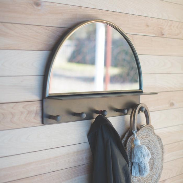 Demi Lune Wall Mirror With Coat Hooks