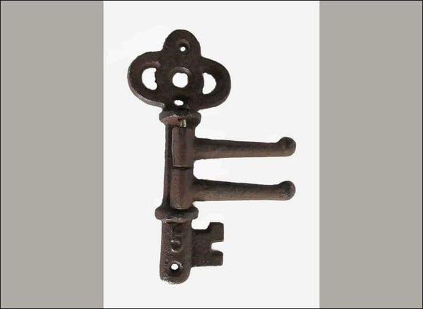 Vintage Key Themed 2 Arm Swivel Coat Hook