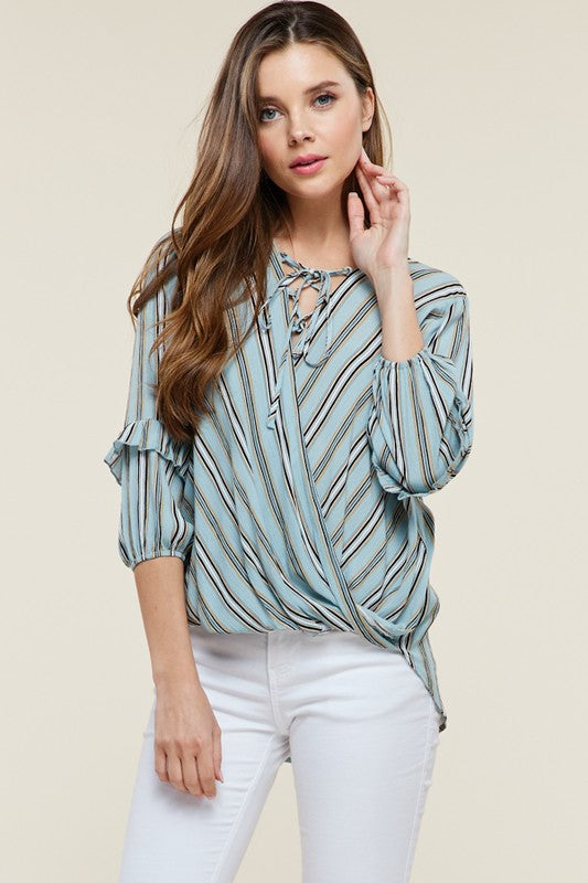 Bri Striped Top-West & Emerald