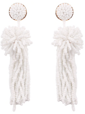White Beaded Palm Drop Earrings-West & Emerald