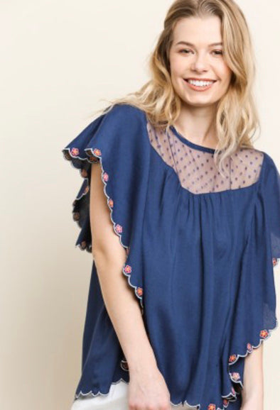 Scalloped Navy Top
