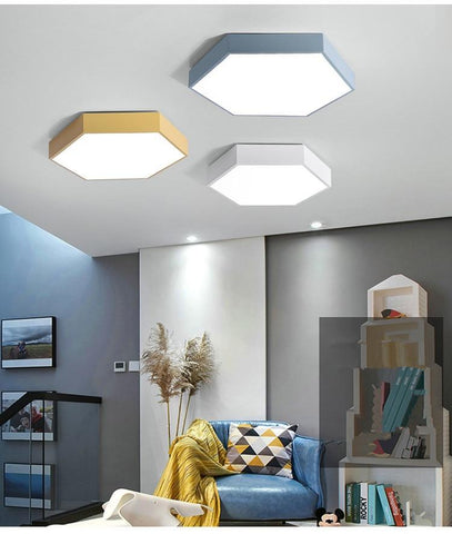 Hex Ceiling Lights Warmly