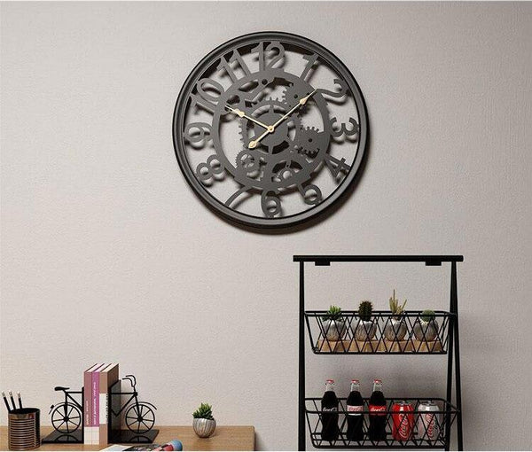 Linden - Cogs & Gears Wrought Iron Clock