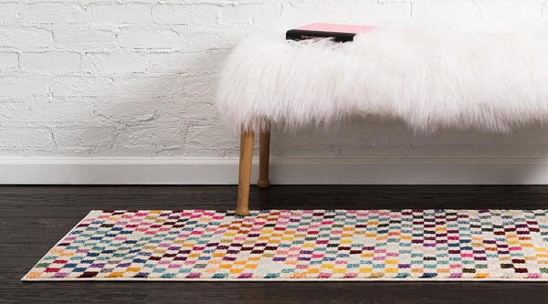 Ross - Rainbow Checkered Cream Rug