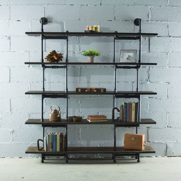 Modern Industrial Five Shelf Large Bookcase