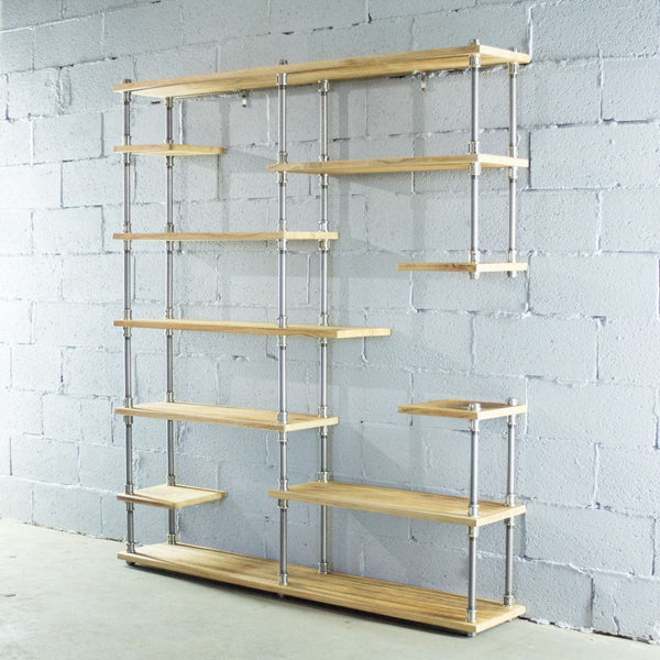 Open Eleven Shelf Industrial Pipe Bookcase