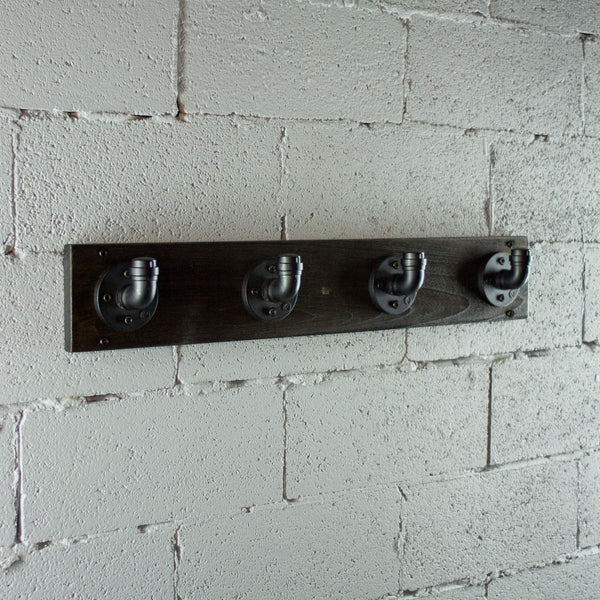 Modern Industrial Wall Mounted Four Hook Hat Rack