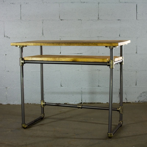 Modern Industrial Home Office Desk with Lower Shelf