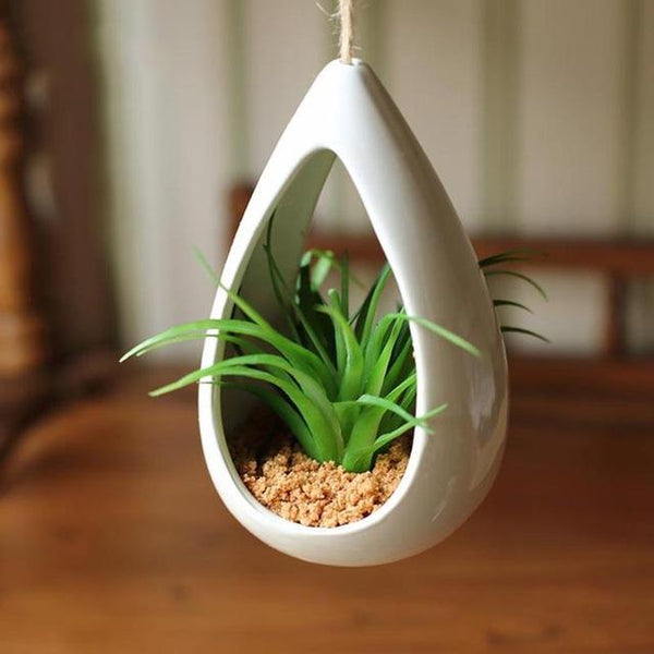 Decorative Ceramic Hanging Planter Pot with Artificial Plant
