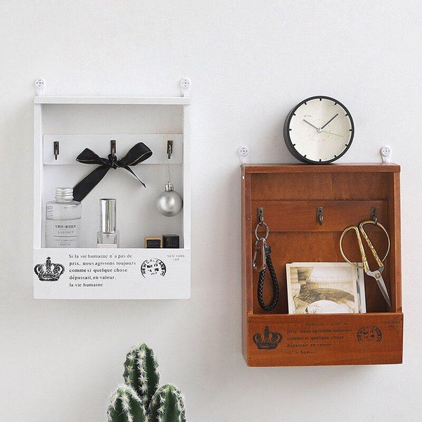 Santos - Hanging Wood Pocket Shelf & Key Hooks