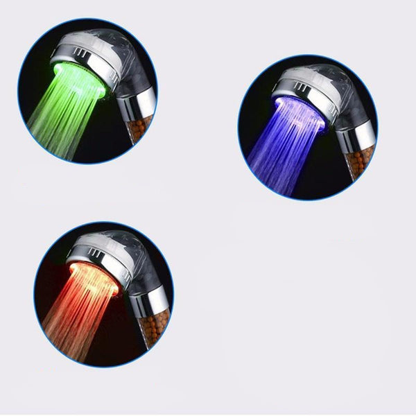 3 Color LED Temperature Sensor Shower Head