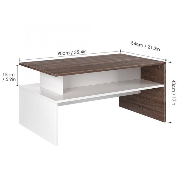 Nunito - Multi-Level Wood Finish Coffee Table