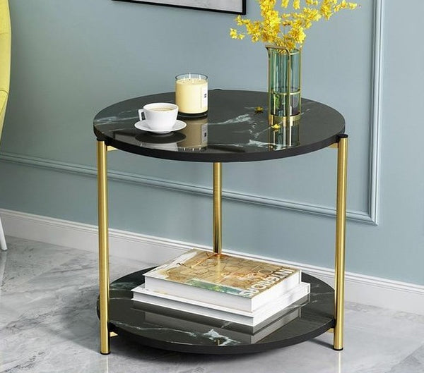 Milton - Wooden Two-Layer Marble Texture Coffee Table